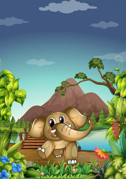 Слон в лесу Бесплатные векторы