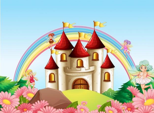中世の城の妖精 無料ベクター
