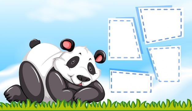 Панда персонаж с пустыми рамками Бесплатные векторы