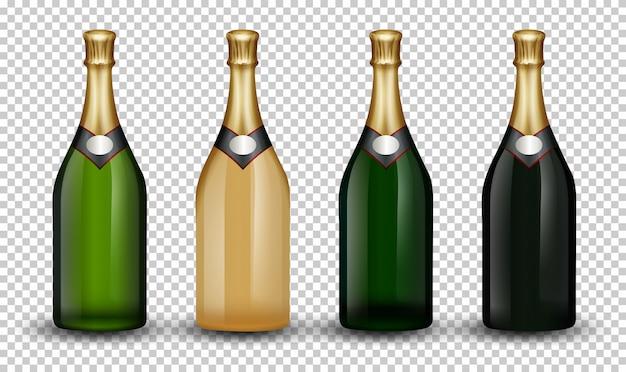 Набор бутылок шампанского Бесплатные векторы