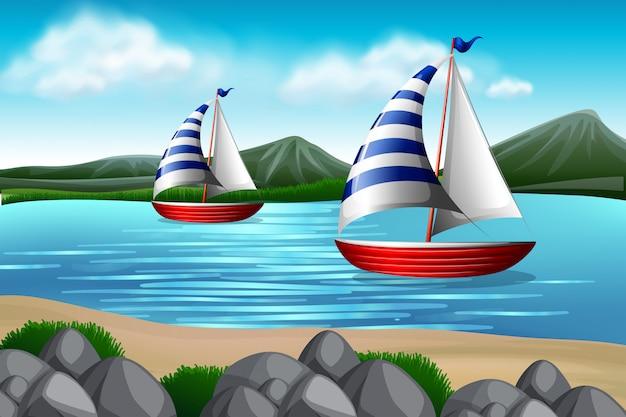 海でのセーリングボート 無料ベクター