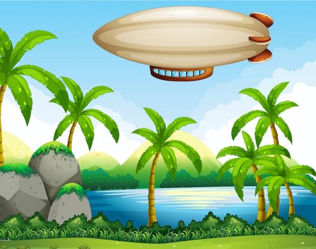 Дирижабль летит в воздухе Бесплатные векторы
