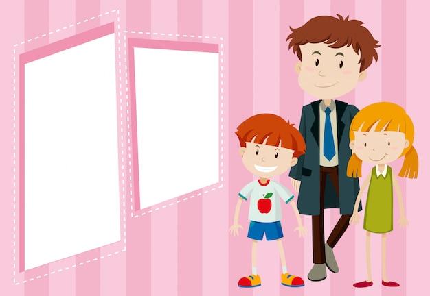 Отец и дети фон Бесплатные векторы
