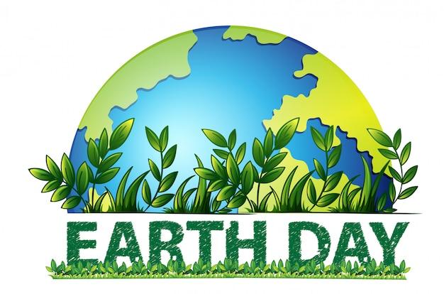 地球の日の緑の背景 無料ベクター