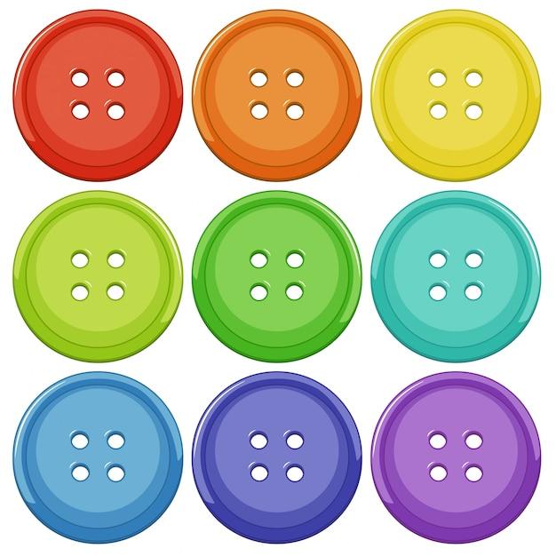 カラフルなボタンのセット 無料ベクター