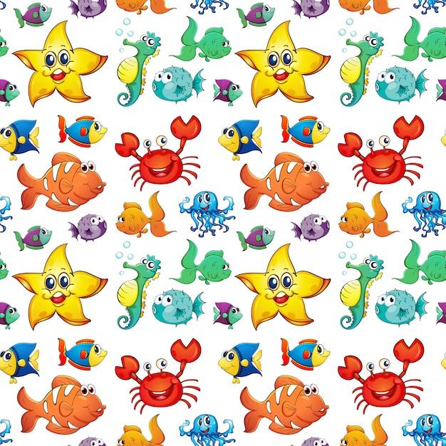 Бесшовный дизайн с морскими существами Бесплатные векторы