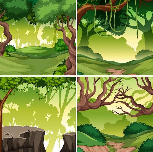 熱帯雨林の背景のセット Premiumベクター
