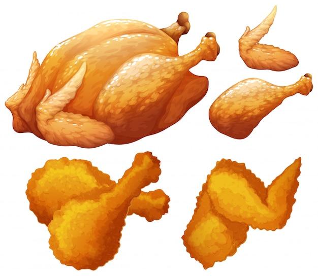 鶏肉の食べ物のセット 無料ベクター
