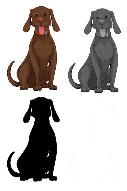犬キャラクターのセット 無料ベクター