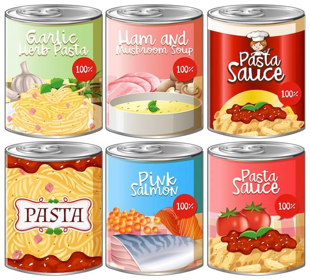 缶詰パスタソースのセット Premiumベクター