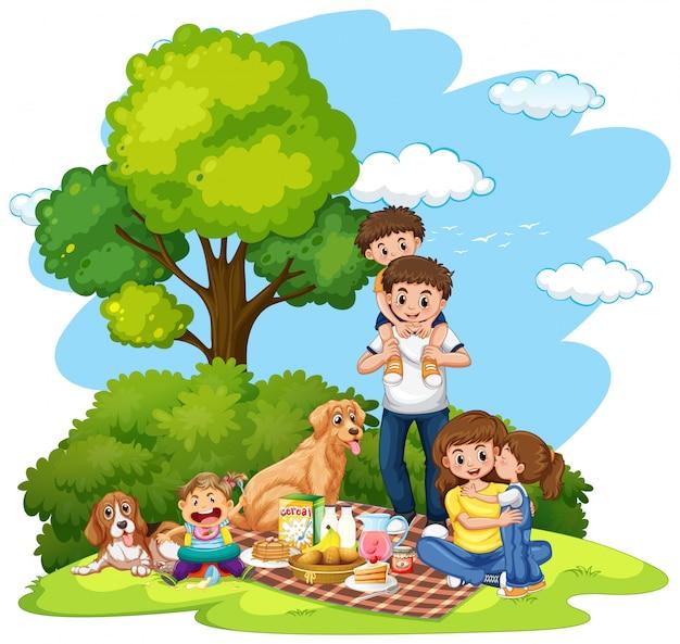 公園のイラストで家族のピクニック 無料ベクター