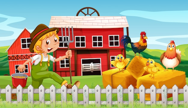 農地で幸せな農家 無料ベクター