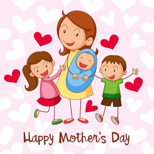 Открытка на день счастливой матери Бесплатные векторы