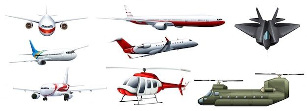 異なる種類の戦闘ジェットのイラスト 無料ベクター