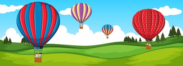 熱気球による旅行 無料ベクター