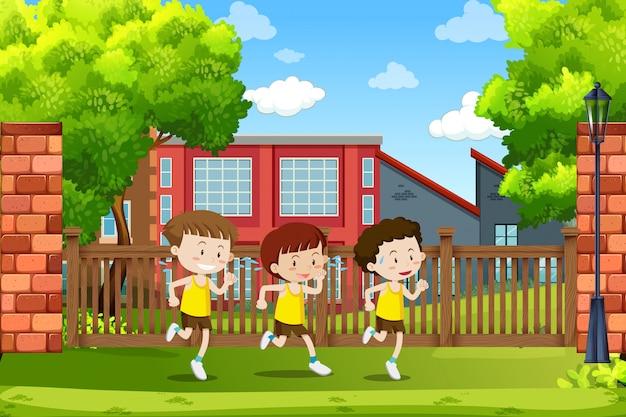 走っている少年たちのグループ 無料ベクター