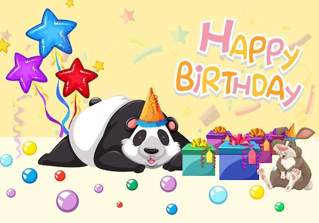 Открытка с днем рождения панда Бесплатные векторы