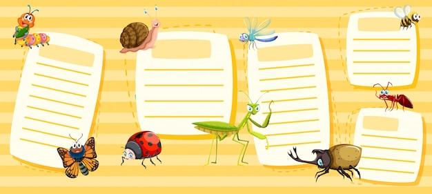 黄色の昆虫のノートのセット 無料ベクター