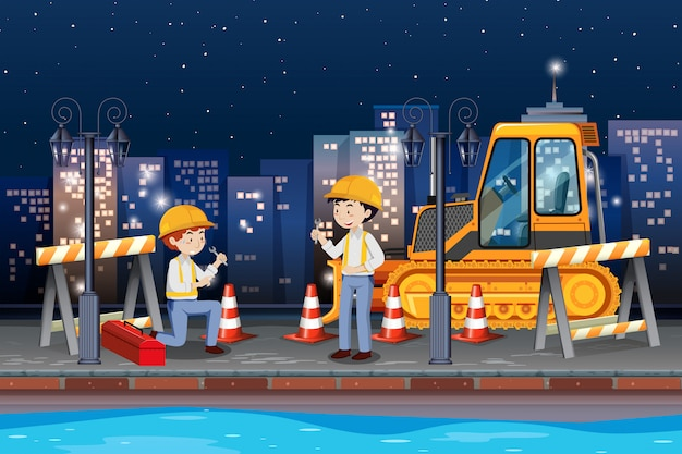 道路を修理するエンジニア 無料ベクター