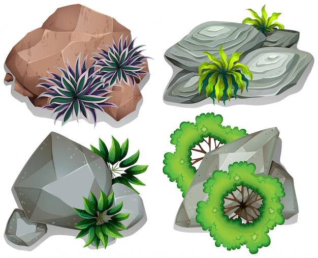 石と岩のセット 無料ベクター