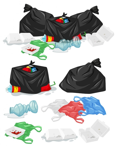 プラスチック製の袋とボトルのイラストが付いているゴミ더미 無料ベクター