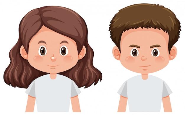 男の子と女の子のキャラクターのセット 無料ベクター