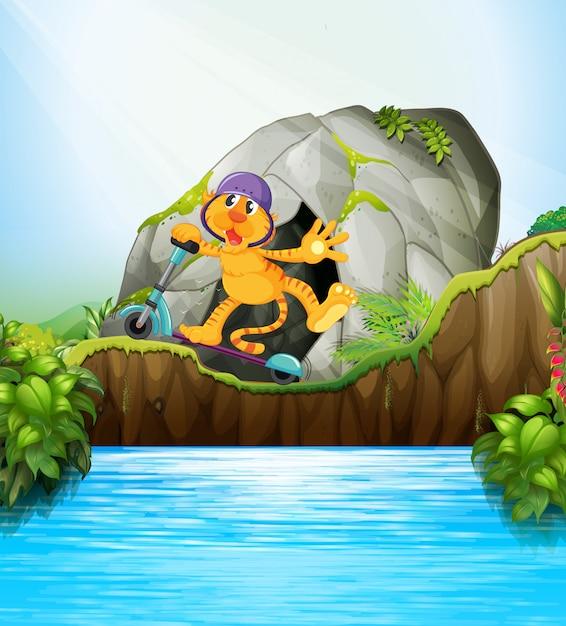 スクーターのジャングルのシーンで虎 無料ベクター