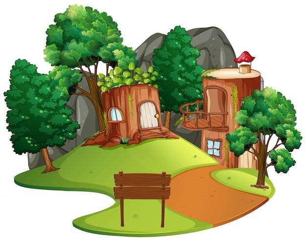 孤立した魅惑の木の家 Premiumベクター