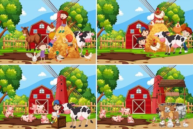 農場で遊んでいる子供たちのセット 無料ベクター