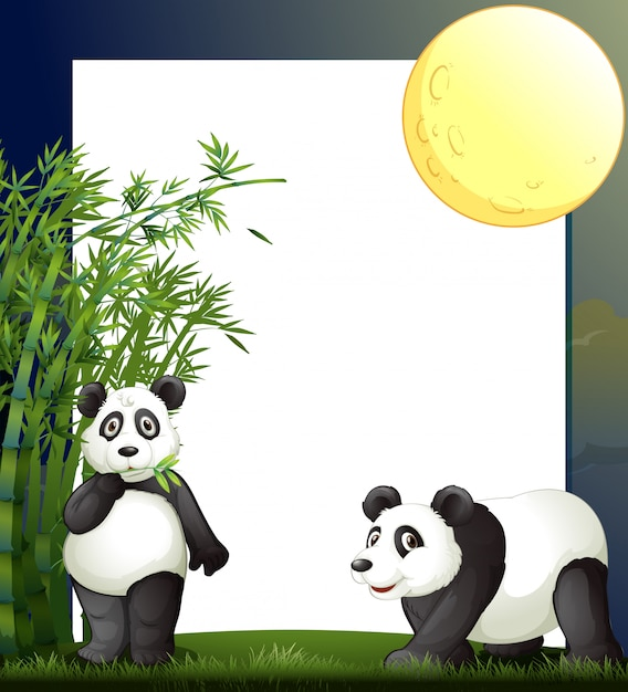 パンダと竹の境界線テンプレート 無料ベクター