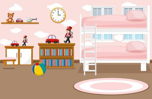 女の子の寝室のイラストのインテリア 無料ベクター