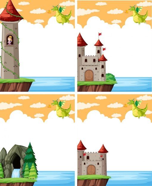Дракон и замок Бесплатные векторы
