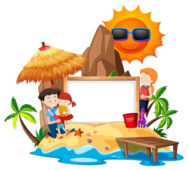 島の空白のフレーム上の家族 無料ベクター