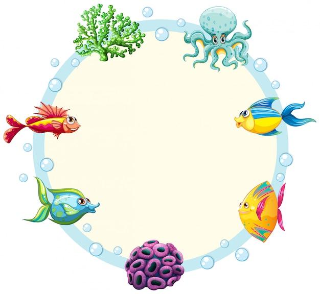 水中生き物ボーダーテンプレート 無料ベクター