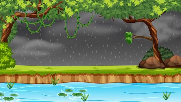 森の中で雨が降っています。 無料ベクター