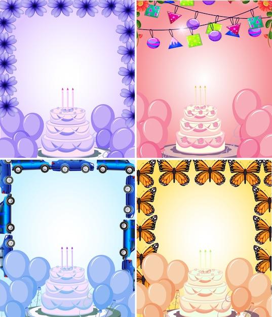 フレーム入りの誕生日カードの背景のセット 無料ベクター