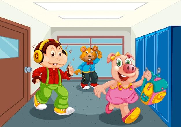 Студент животных в школьном коридоре Бесплатные векторы
