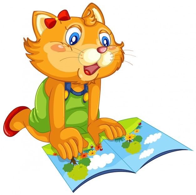 Кошка читает книгу Бесплатные векторы