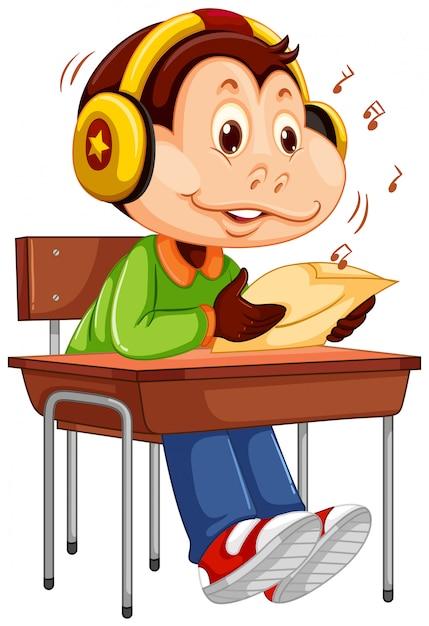Симпатичная обезьяна студенческого персонажа Бесплатные векторы