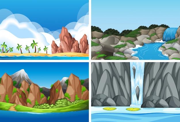 自然風景のセット 無料ベクター