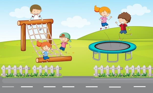Дети на детской площадке Бесплатные векторы