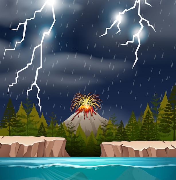 Извержение вулкана в дождливую ночь Premium векторы