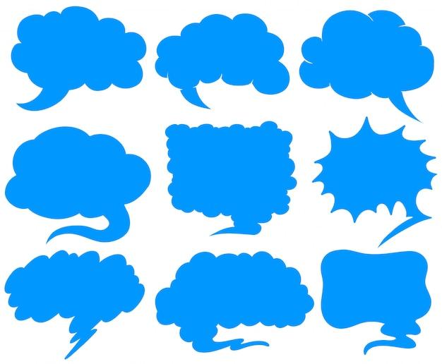 Синие пузыри речи в разных формах Бесплатные векторы