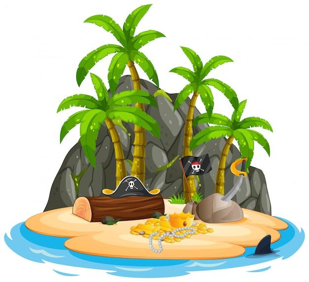 孤立した海賊島 Premiumベクター