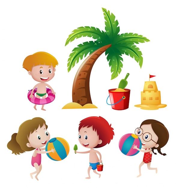 ビーチで遊ぶ男の子と女の子 無料ベクター