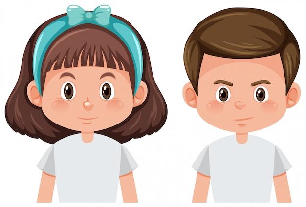 Мальчик и девочка изолированы Бесплатные векторы