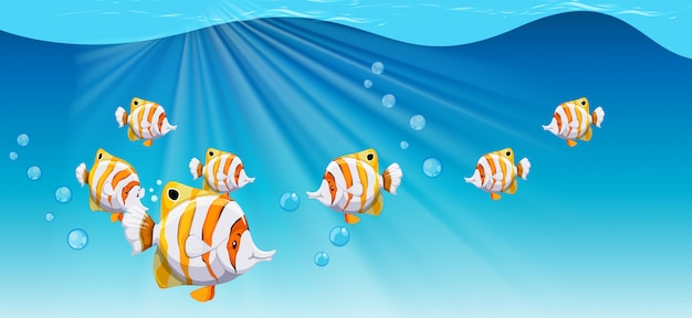 海の下を泳ぐ魚 無料ベクター