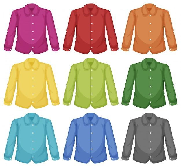 カラーカラーシャツのセット 無料ベクター