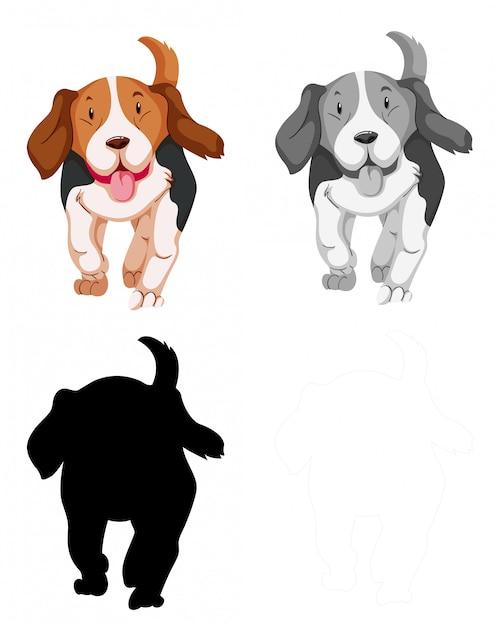 ビーグル犬キャラクターのセット 無料ベクター