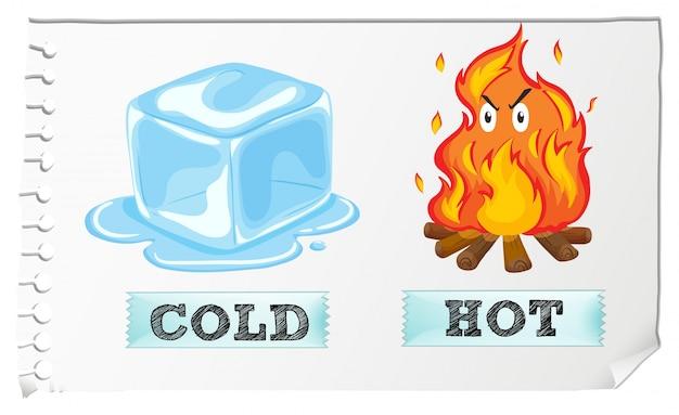 寒さと熱い形容詞の反対 無料ベクター